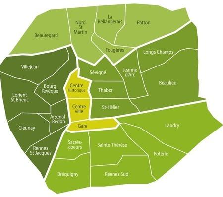 Carte des secteurs de Rennes