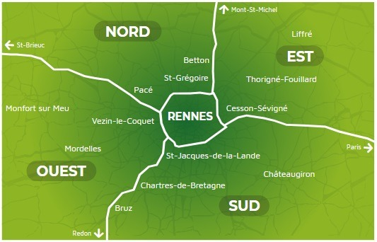 Carte périphérie rennaise