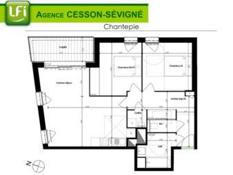 Appartement T3 NEUF à louer, Chantepie