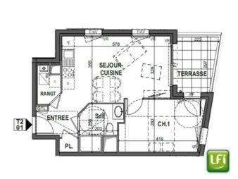Appartement Neuf à vendre à Pacé 2 pièces – 43.02 m2 – 10min de Rennes – Livraison 2021