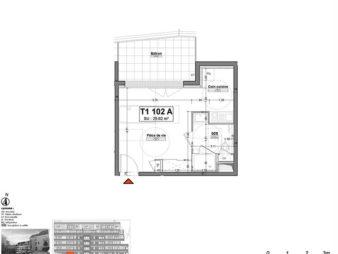 Appartement Rennes Centre-Ville, Rue d'Antrain – 1 pièces 25.46 m2 – Balcon de 8,36 m² – Programme Neuf
