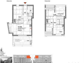 Appartement Rennes Centre-Ville, Rue d'Antrain – 4 pièces en duplex de 81.77 m2 – Terrasse de 14.10 m² – Deux Parkings – Programme Neuf