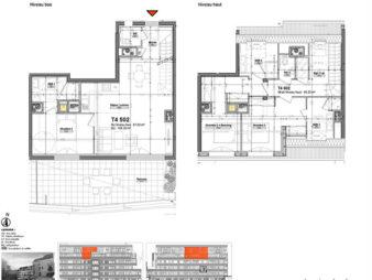 Appartement Rennes Centre-Ville, Rue d'Antrain – 4 pièces en duplex de 105.28 m2 – Terrasse de 27.34 m² – Deux Parkings – Programme Neuf